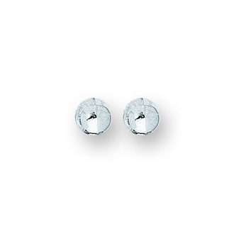 14 Karat White Gold Polish Finished 3mm Ball Stud Earrings With Friction Backs