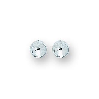 14 Karat White Gold Polish Finished 4mm Ball Stud Earrings With Friction Backs