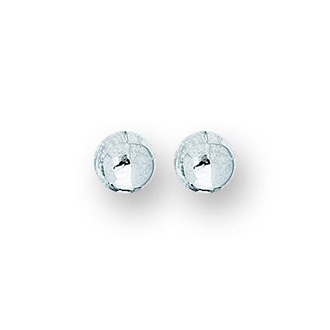 14 Karat White Gold Polish Finished 5mm Ball Stud Earrings With Friction Backs