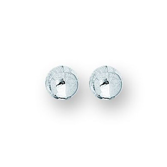 14 Karat White Gold Polish Finished 6mm Ball Stud Earrings With Friction Backs