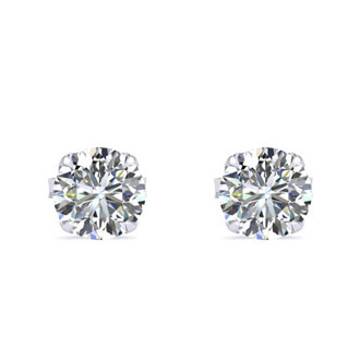 1/3ct Diamond Stud Earrings In 10k White Gold With FREE Matching Pendant!