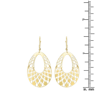 14 Karat Yellow Gold Polish Finished Swinging Teardrop Dangle Earring With Fishhook Backs, 1 1/2 Inches