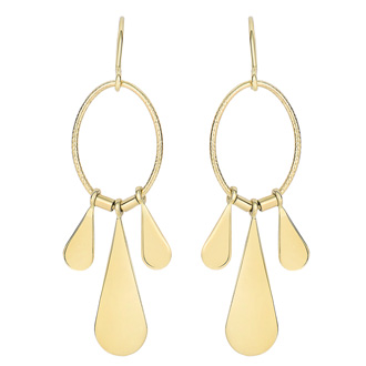 14 Karat Yellow Gold Polish Finished Triple Teardrop Dangle Earrings With Fishhook backs, 1 1/2 Inches