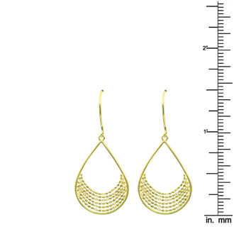 14 Karat Yellow Gold Polish Finished Teardrop Dangle Earrings With Fishhook Backs, 1 1/2 Inches
