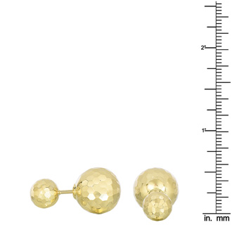 14 Karat Yellow Gold Diamond Cut 14x8mm Double Ball Stud Earrings With Friction Backs