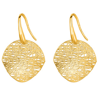 14 Karat White Gold 17x17mm Mesh Disc Earrings With Fishhook Backs