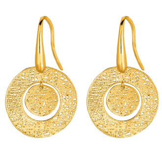 14 Karat Yellow Gold 17x17mm Mesh Bull's Eye Earrings With Fishhook Backs