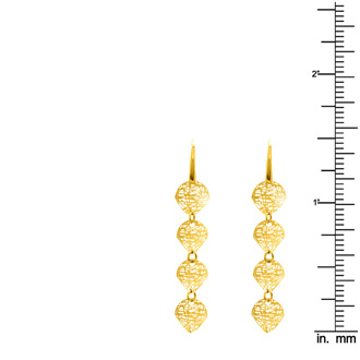 14 Karat Yellow Gold Circle Mesh Drop Earrings With Fishhook Backs, 1 1/2 Inches
