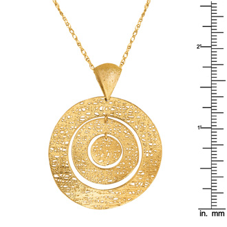 14 Karat Yellow Gold 35mm Mesh Bull's Eye Necklace, 18 Inches