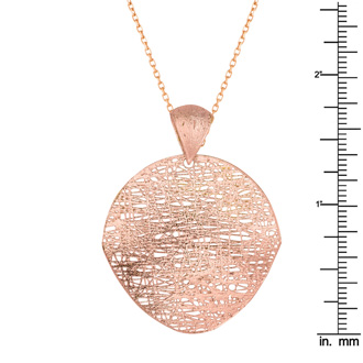 14 Karat Rose Gold 35mm Mesh Disc Necklace, 18 Inches