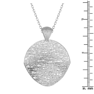 14 Karat White Gold 35mm Mesh Disc Necklace, 18 Inches