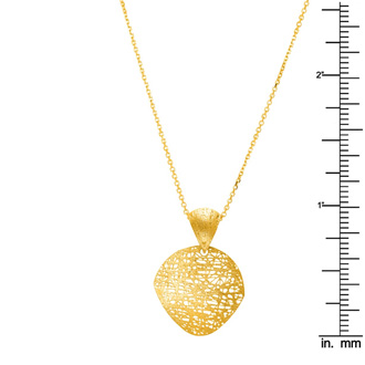 14 Karat Yellow Gold 17mm Mesh Disc Necklace, 18 Inches