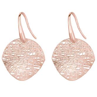 14 Karat Rose Gold 17x17mm Mesh Disc Earrings With Fishhook Backs