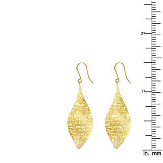 14 Karat Yellow Gold 38x25mm Mesh leaf Earrings With Fishhook Backs