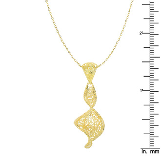 14 Karat Yellow Gold 38x17mm Graduated Mesh Swirl Shaped Necklace, 18 Inches