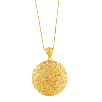 14 Karat Yellow Gold 25x25mm Bird's Nest Necklace, 18 Inches