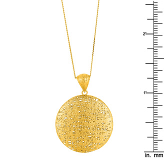 14 Karat Yellow Gold 25x25mm Bird's Nest Necklace, 18 Inches