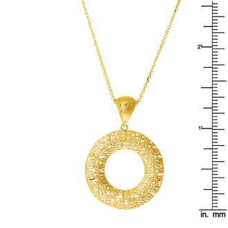 14 Karat Yellow Gold 25x25mm Hollow Bird's Nest Necklace, 18 Inches