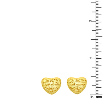 14 Karat Yellow Gold 12x12mm Mesh Heart Shaped Stud Earrings With Friction Backs