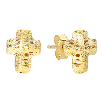 14 Karat Yellow Gold 12x12mm Mesh Cross Stud Earrings With Friction Backs