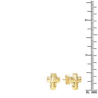 14 Karat Yellow Gold 12x12mm Mesh Cross Stud Earrings With Friction Backs