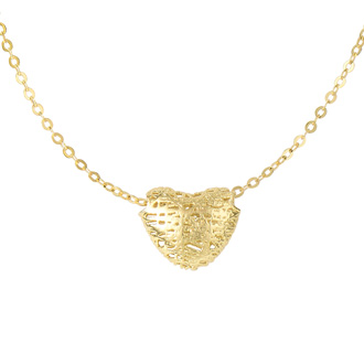 14 Karat Yellow Gold 19x19mm Mesh Heart Shaped Necklace, 17 Inches