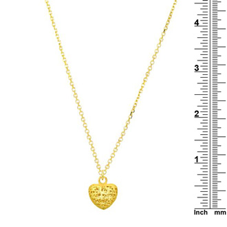 14 Karat Yellow Gold 19x19mm Mesh Heart Shaped Necklace, 18 Inches