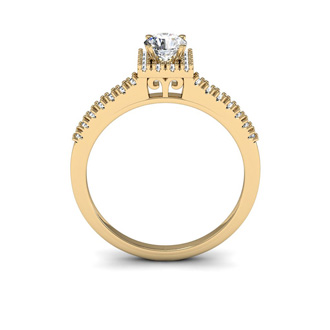 1/2 Carat Square Halo With Round Brilliant Solitaire Diamond Engagement Ring in 14 Karat Yellow Gold