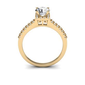1 Carat Square Halo With Round Brilliant Solitaire Diamond Engagement Ring in 14 Karat Yellow Gold