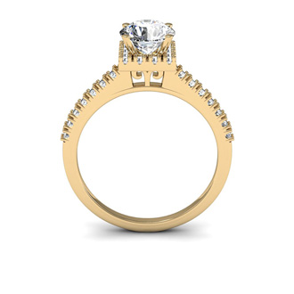 1.40 Carat Square Halo With Round Brilliant Solitaire Diamond Engagement Ring in 14 Karat Yellow Gold