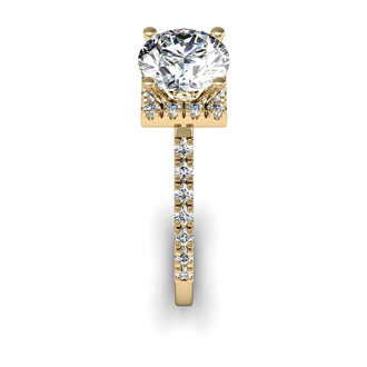 2.00 Carat Square Halo With Round Brilliant Solitaire Diamond Engagement Ring in 14 Karat Yellow Gold