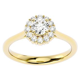3/4 Carat Elegant Diamond Halo Engagement Ring In 14k Yellow Gold