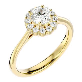 1.00 Carat Elegant Diamond Halo Engagement Ring In 14k Yellow Gold