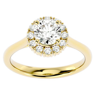 1 1/3 Carat Halo Diamond Engagement Ring In 14 Karat Yellow Gold