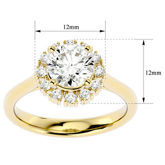 2.00 Carat Elegant Diamond Halo Engagement Ring In 14k Yellow Gold