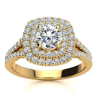 1 Carat Double Halo Diamond Engagement Ring in 14 Karat Yellow Gold