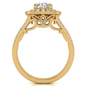 1.25 Carat Huge Looking Double Designer Diamond Halo Engagement Ring In 14 Karat Yellow Gold
