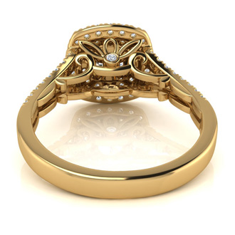 1.50 Carat Huge Looking Double Designer Diamond Halo Engagement Ring In 14 Karat Yellow Gold