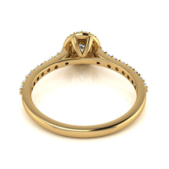 1/2 Carat Perfect Halo Diamond Engagement Ring In 14 Karat Yellow Gold