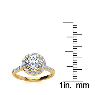 1.25 Carat Perfect Halo Diamond Engagement Ring In 14K 14 Karat Yellow Gold