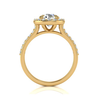 2.00 Carat Perfect Halo Diamond Engagement Ring In 14K 14 Karat Yellow Gold