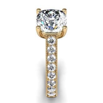 2 Carat Diamond Engagement Ring With 1 1/2 Carat Cushion Cut Center Diamond In 14K Yellow Gold