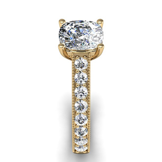2.50 Carat Solitaire Engagement Ring With 2.00 Carat Cushion Cut Center Diamond In 14K Yellow Gold