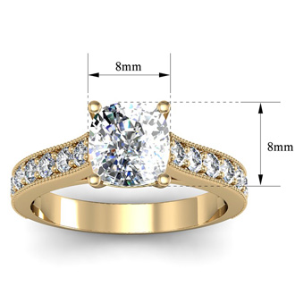 2 1/2 Carat Diamond Engagement Ring With 2 Carat Cushion Cut Center Diamond In 14K Yellow Gold