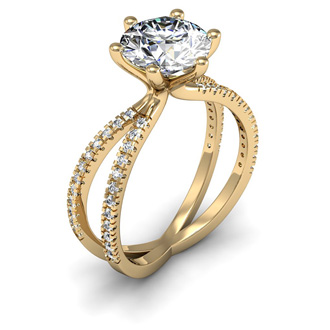 Modern X Band 2.25 Carat Solitaire Engagement Ring With 48 Side Diamonds in 14K Yellow Gold