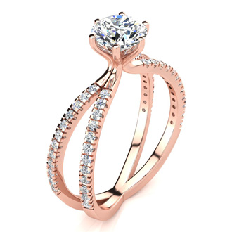 Modern X Band 1.25 Carat Solitaire Engagement Ring With 48 Side Diamonds in 14K Rose Gold