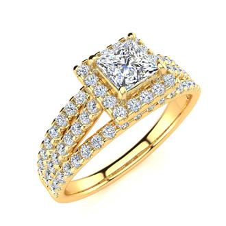 1 Carat Elegant Princess Cut Halo Diamond Engagement Ring In 14 Karat Yellow Gold