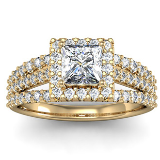 1.50 Carat Elegant Princess Cut Diamond Halo Engagement Ring With 70 Fiery Accent Diamonds In 14 Karat Yellow Gold