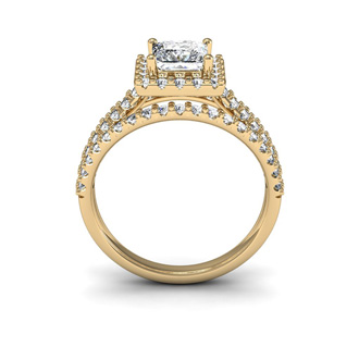 2.00 Carat Elegant Princess Cut Diamond Halo Engagement Ring With 70 Fiery Accent Diamonds In 14 Karat Yellow Gold