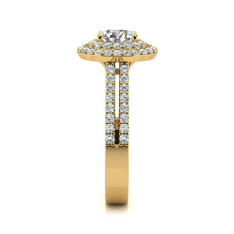 1 1/2 Carat Double Halo Round Diamond Engagement Ring in 14 Karat Yellow Gold
